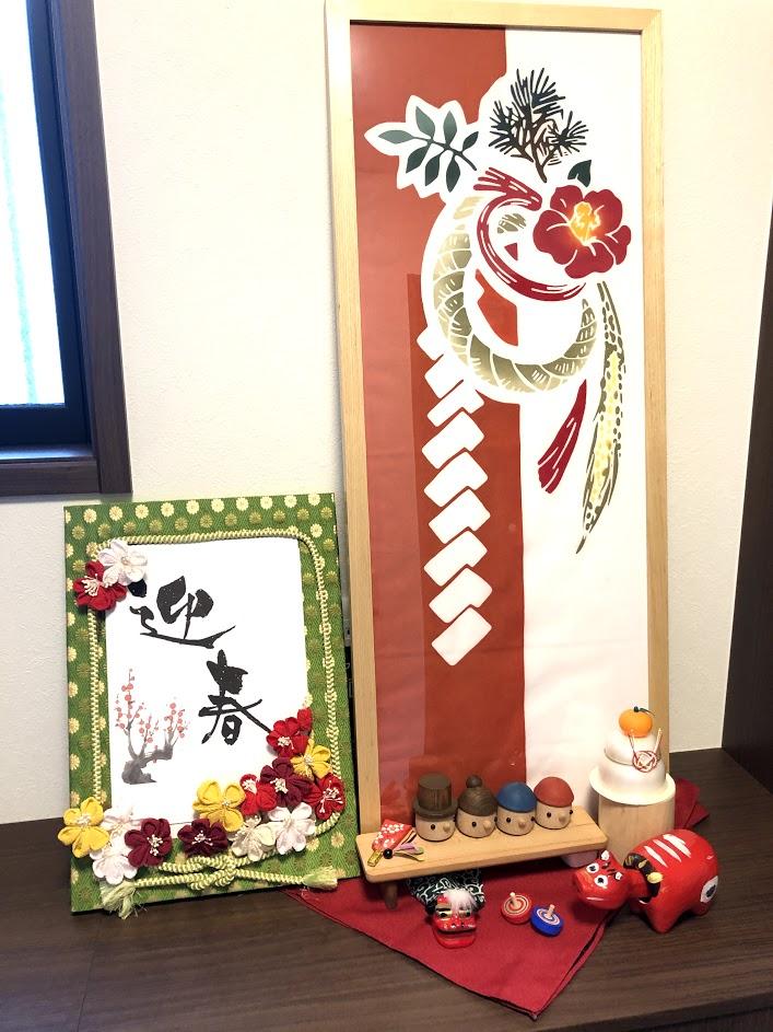 お正月の玄関インテリア*しめ縄飾りの手ぬぐいや雑貨