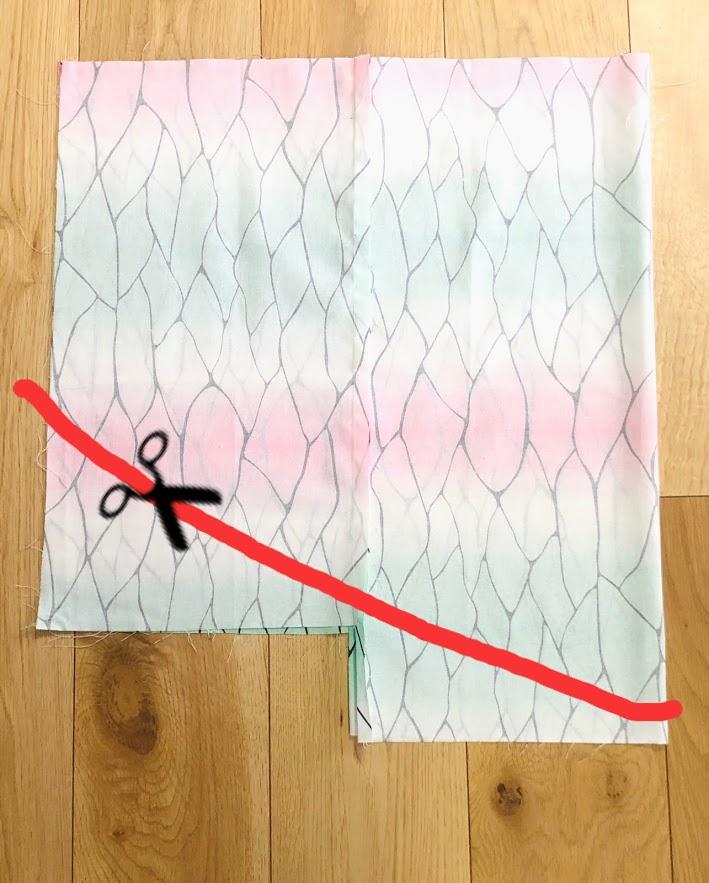 【ダイソー】はぎれで作る胡蝶しのぶコスプレマント(3歳)④