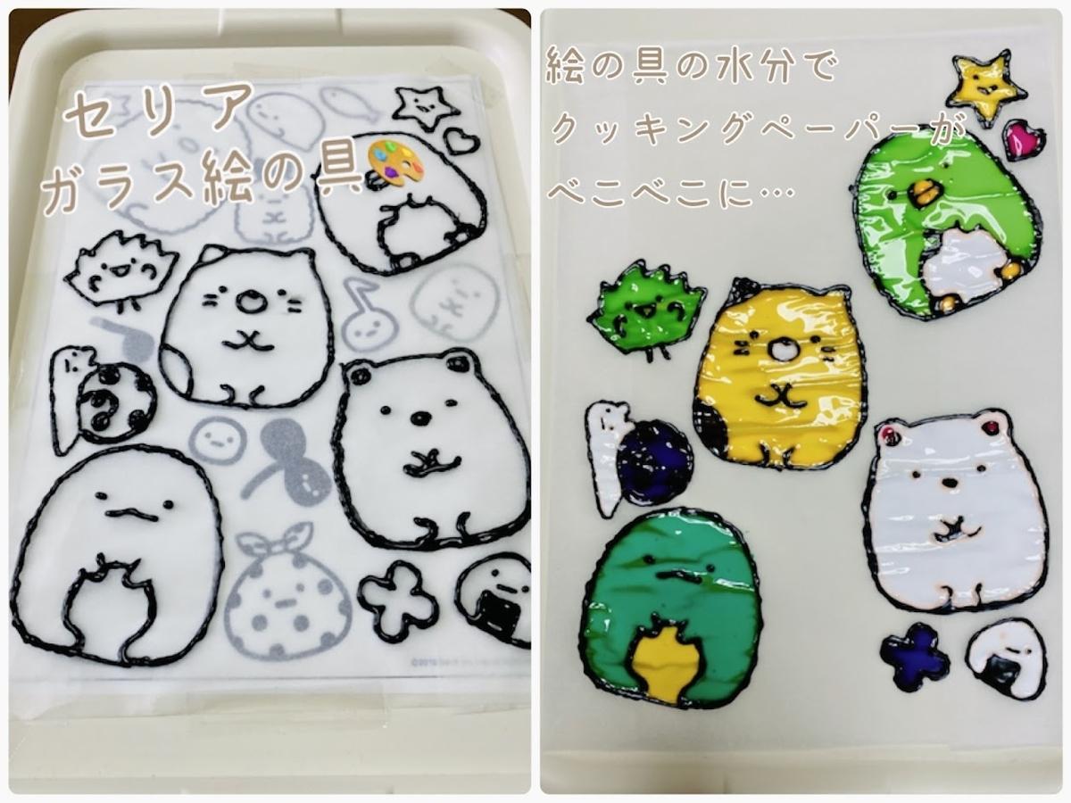 【セリア】ガラス絵の具で窓ガラスシール(すみっコぐらし)を手作り(クッキングペーパー))