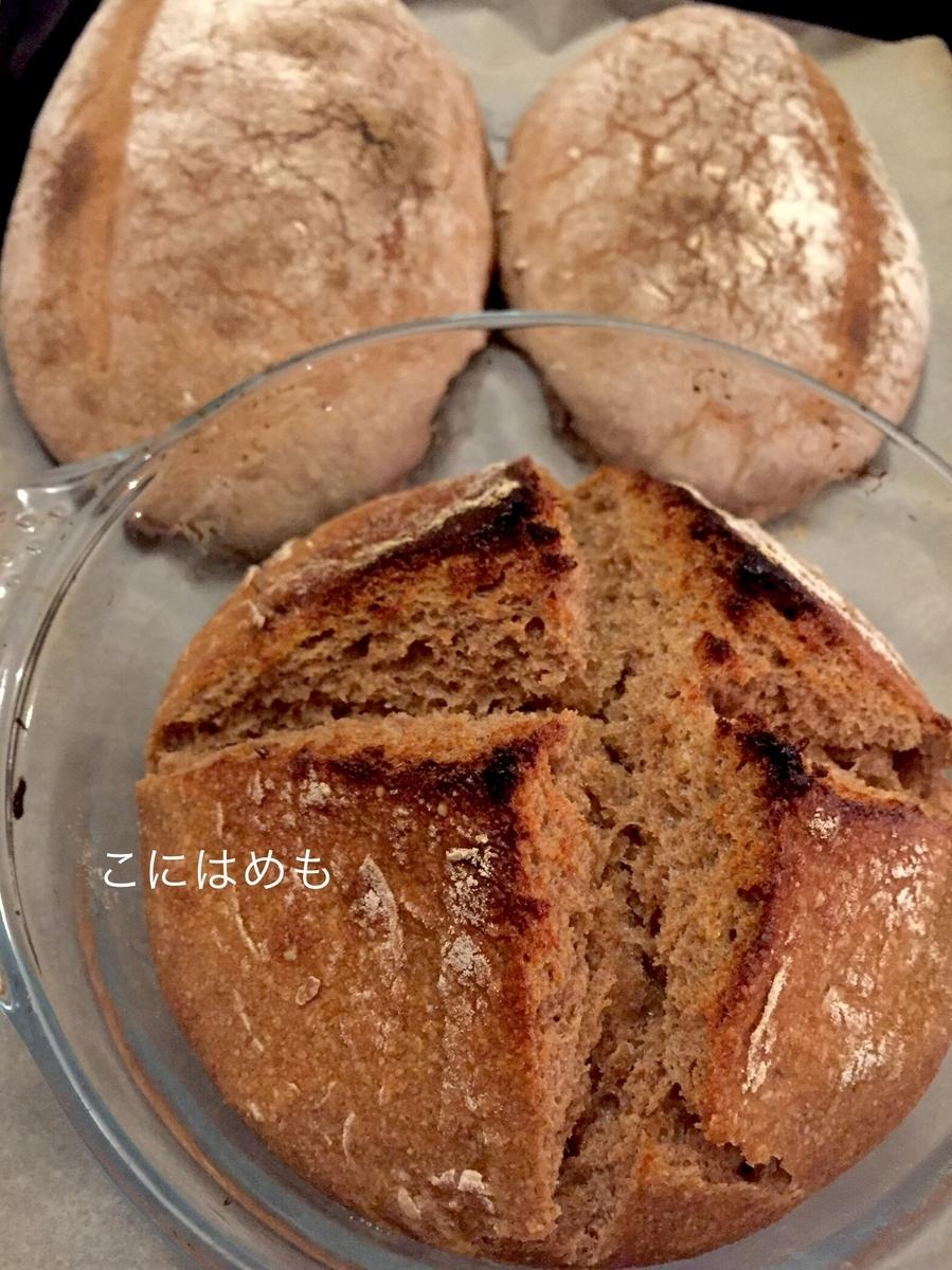 ライ麦全粒粉&小麦全粒粉の天然酵母パン。