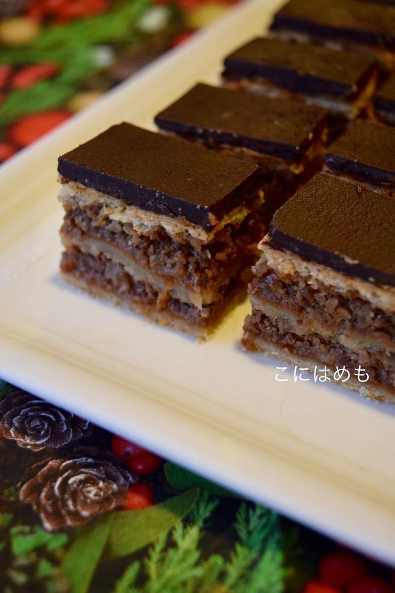 【ハンガリーのお菓子】くるみとアプリコットジャムのケーキ「zserbó:ジェルボー」