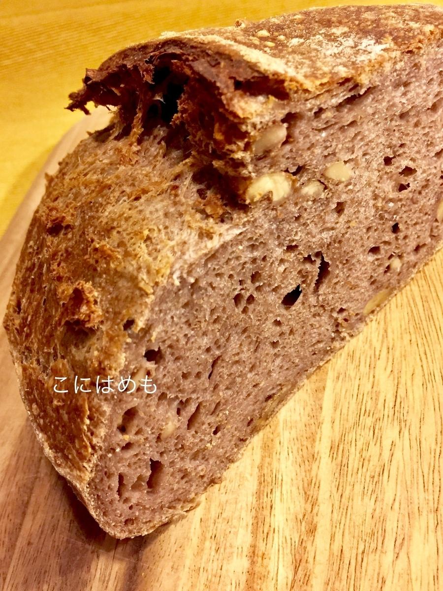 「くるみ天然酵母パン」をカットすると。