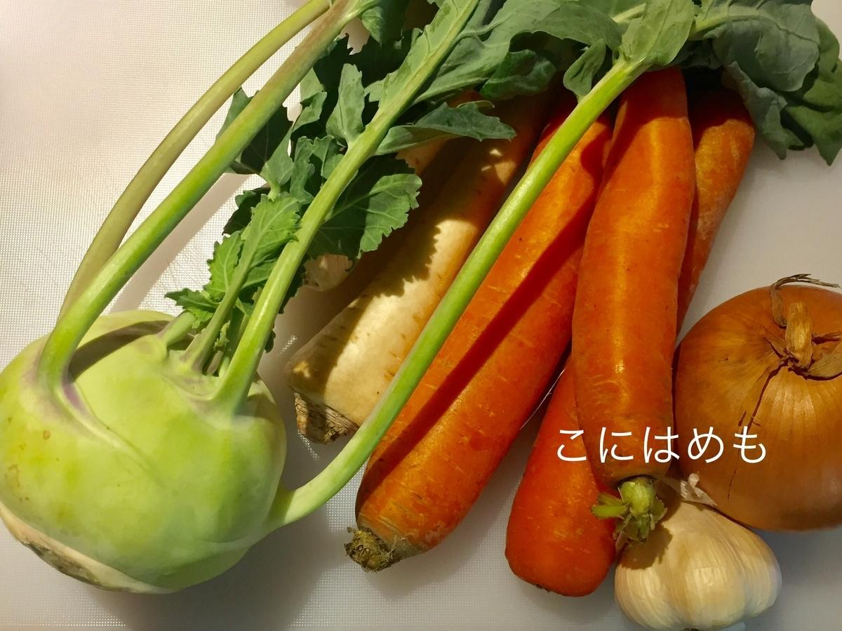 コールラビ、パセリの根、人参、玉ねぎ、にんにく。