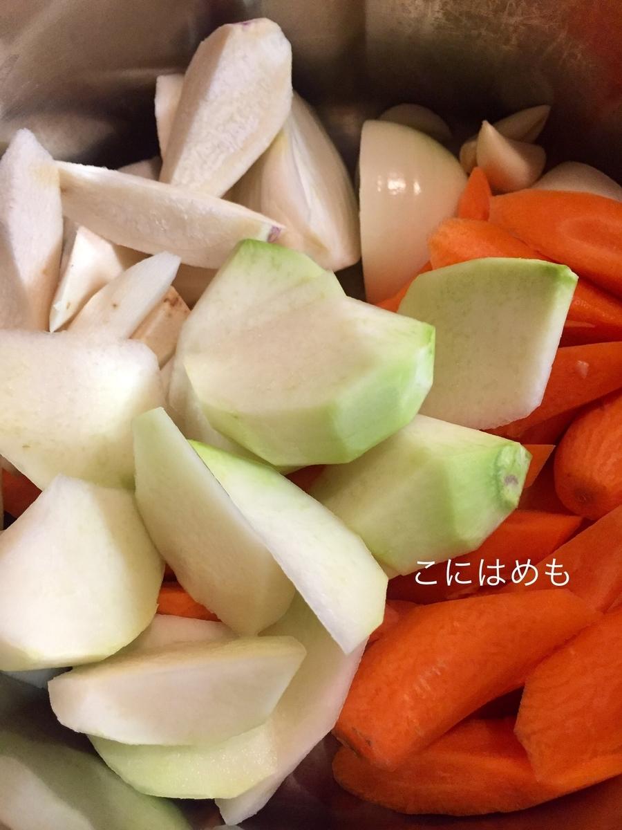 別のお鍋にお野菜を入れ、鴨のガラのお出汁を加え、 塩こしょう、ローリエを入れて煮る。