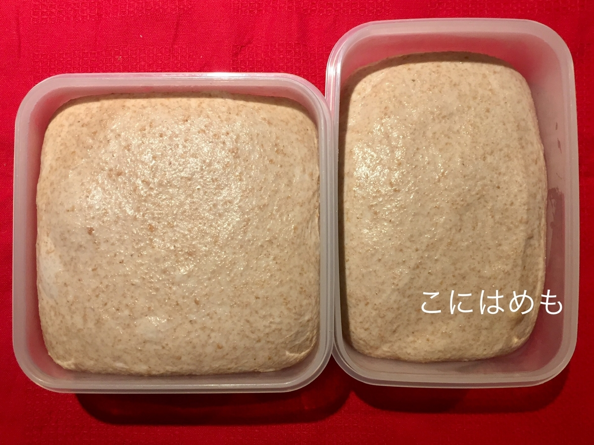 冷蔵庫から取り出したパン生地。