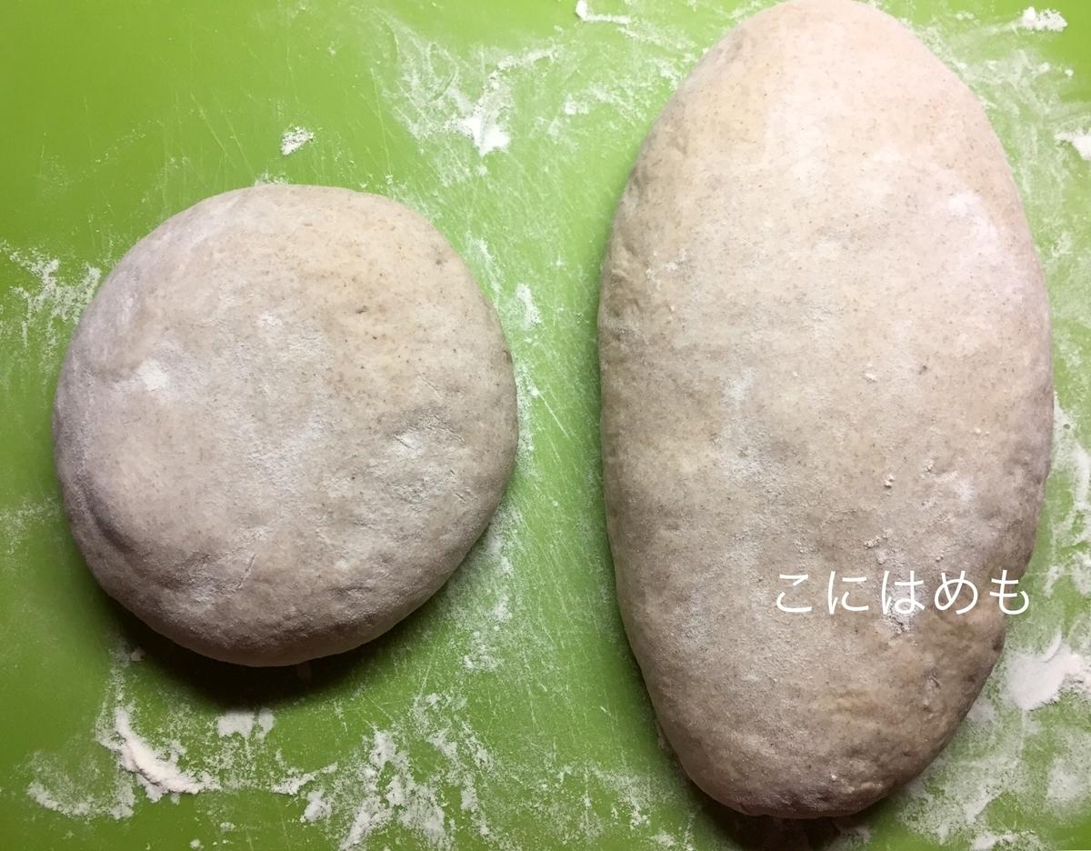 天然酵母パンの成形。