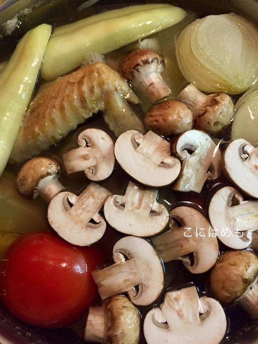 パプリカ、マッシュルーム(半分にカットたもの)、トマトのへたを取ったものをそのまま入れる。