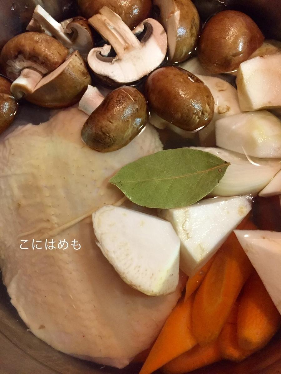 鶏むね肉、お野菜、ローリエ、お塩を入れて火にかける。
