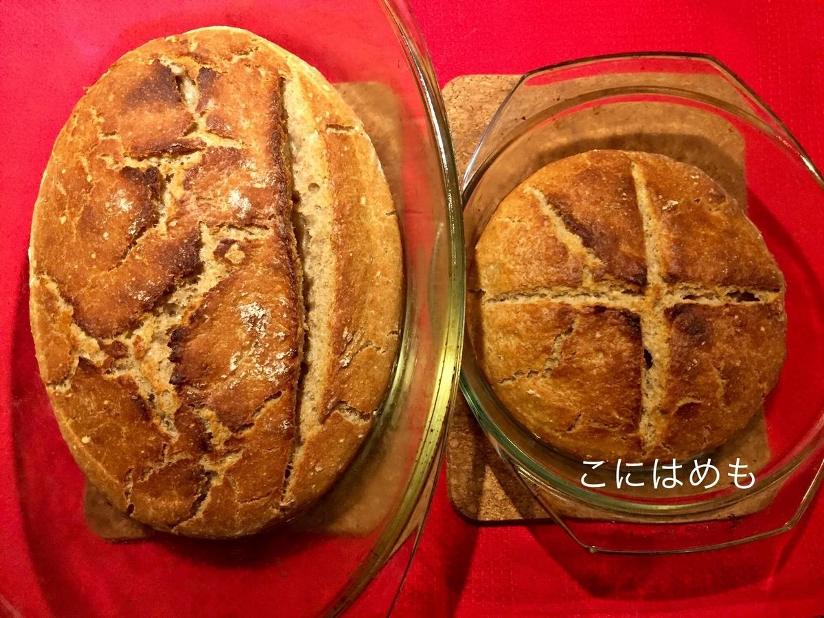 「強力粉と全粒粉とスペルト小麦の天然酵母パン」焼き上がり。
