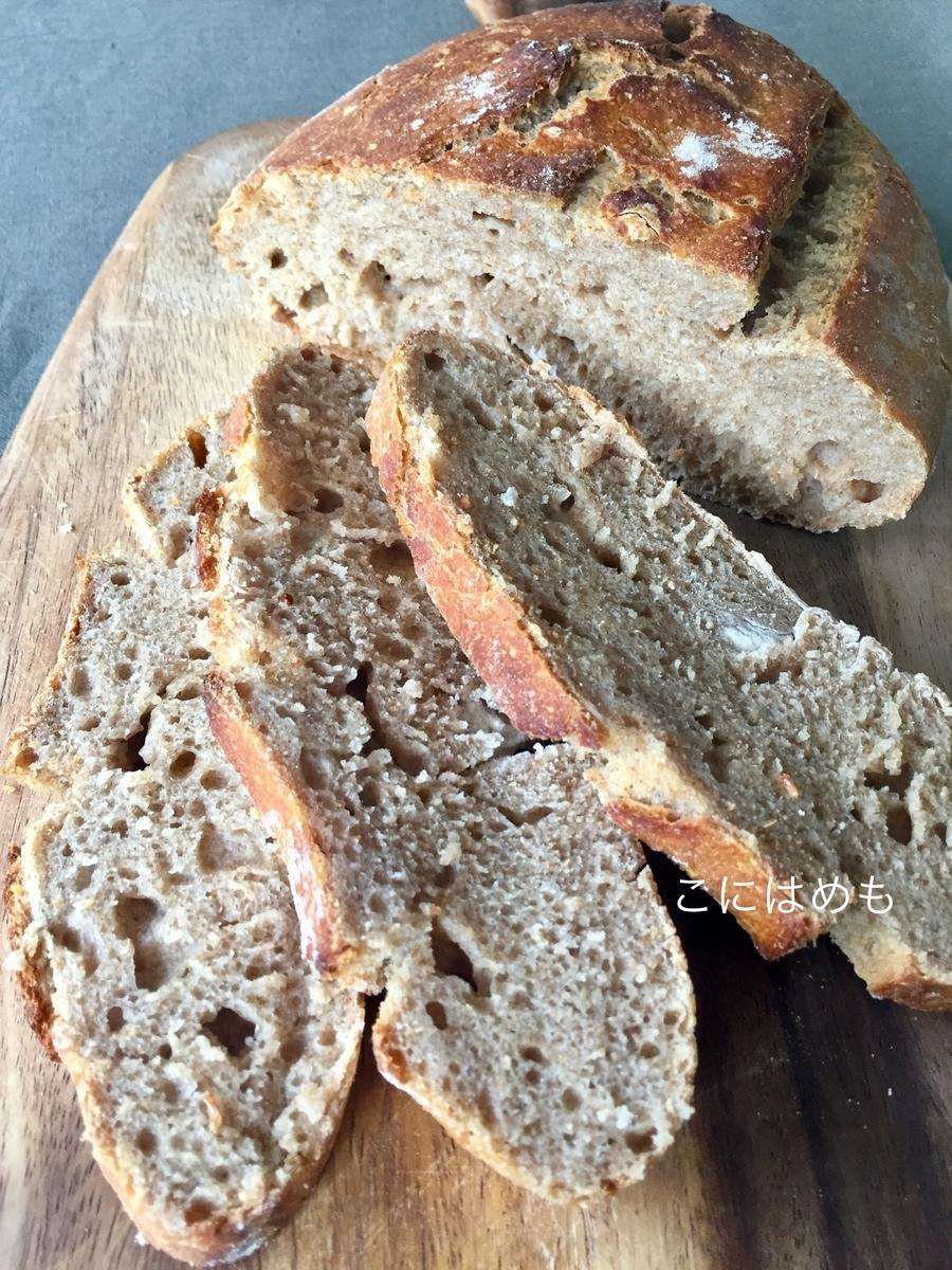「強力粉と全粒粉とスペルト小麦の天然酵母パン」