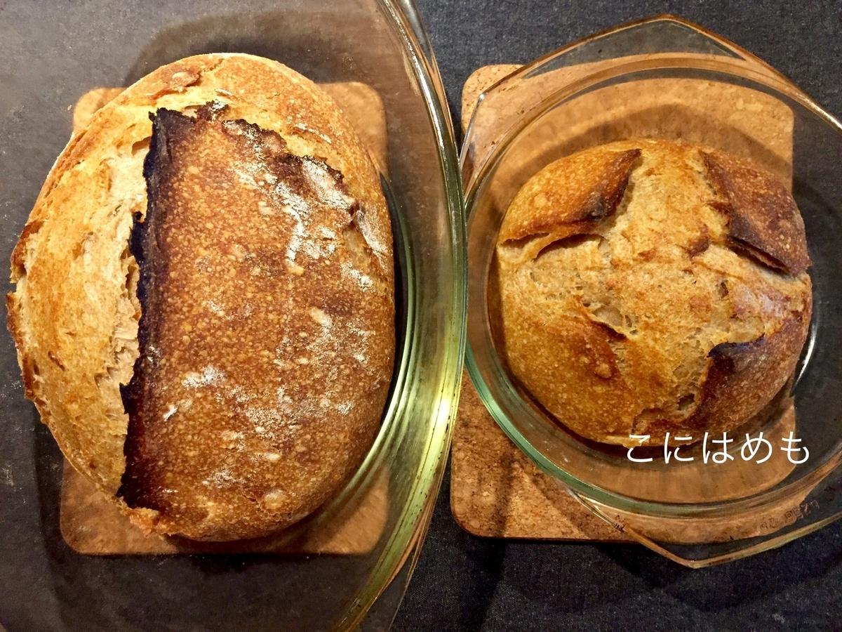 【天然酵母】スペルト小麦と強力粉と全粒粉の天然酵母パン。焼き上がり。