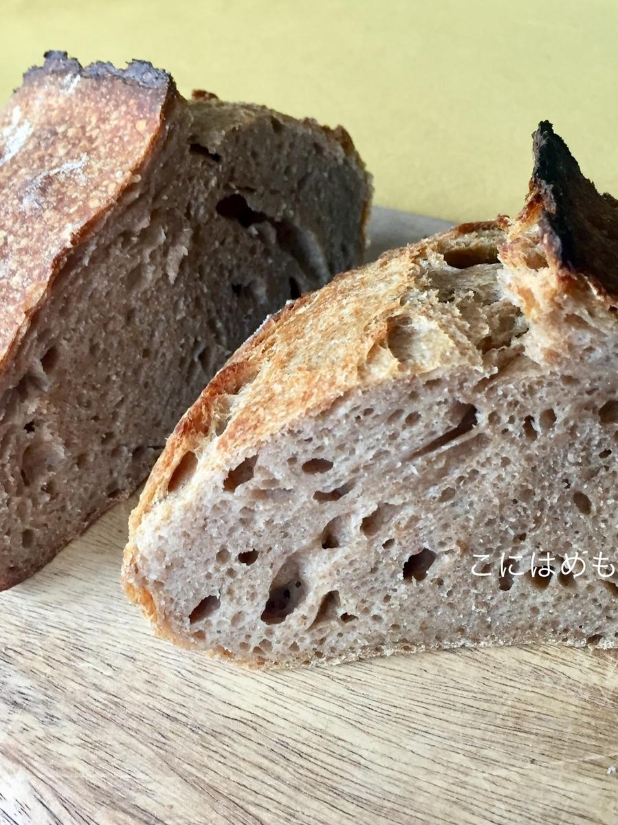 【天然酵母】スペルト小麦と強力粉と全粒粉の天然酵母パン。