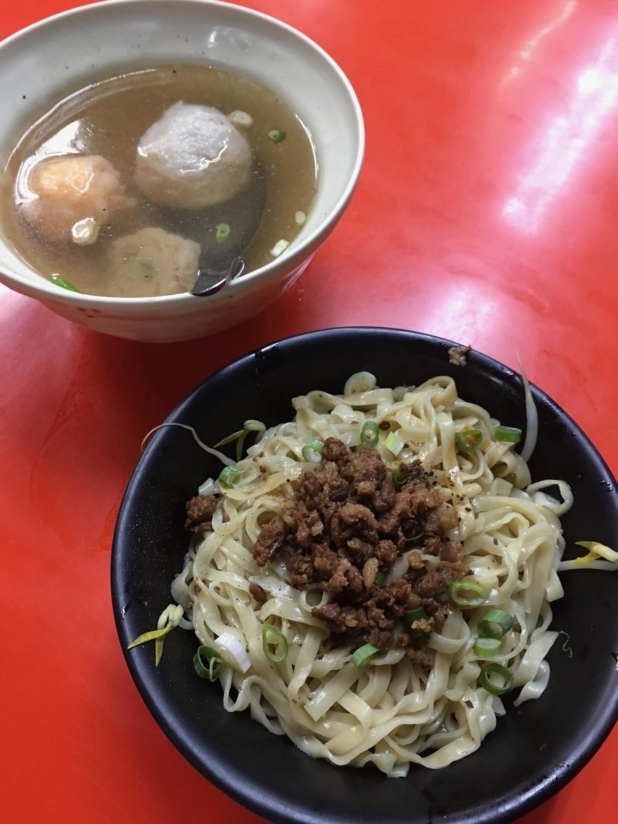 台中第二市場 三代福州意麵老店 福州乾意麵 総合丸子湯