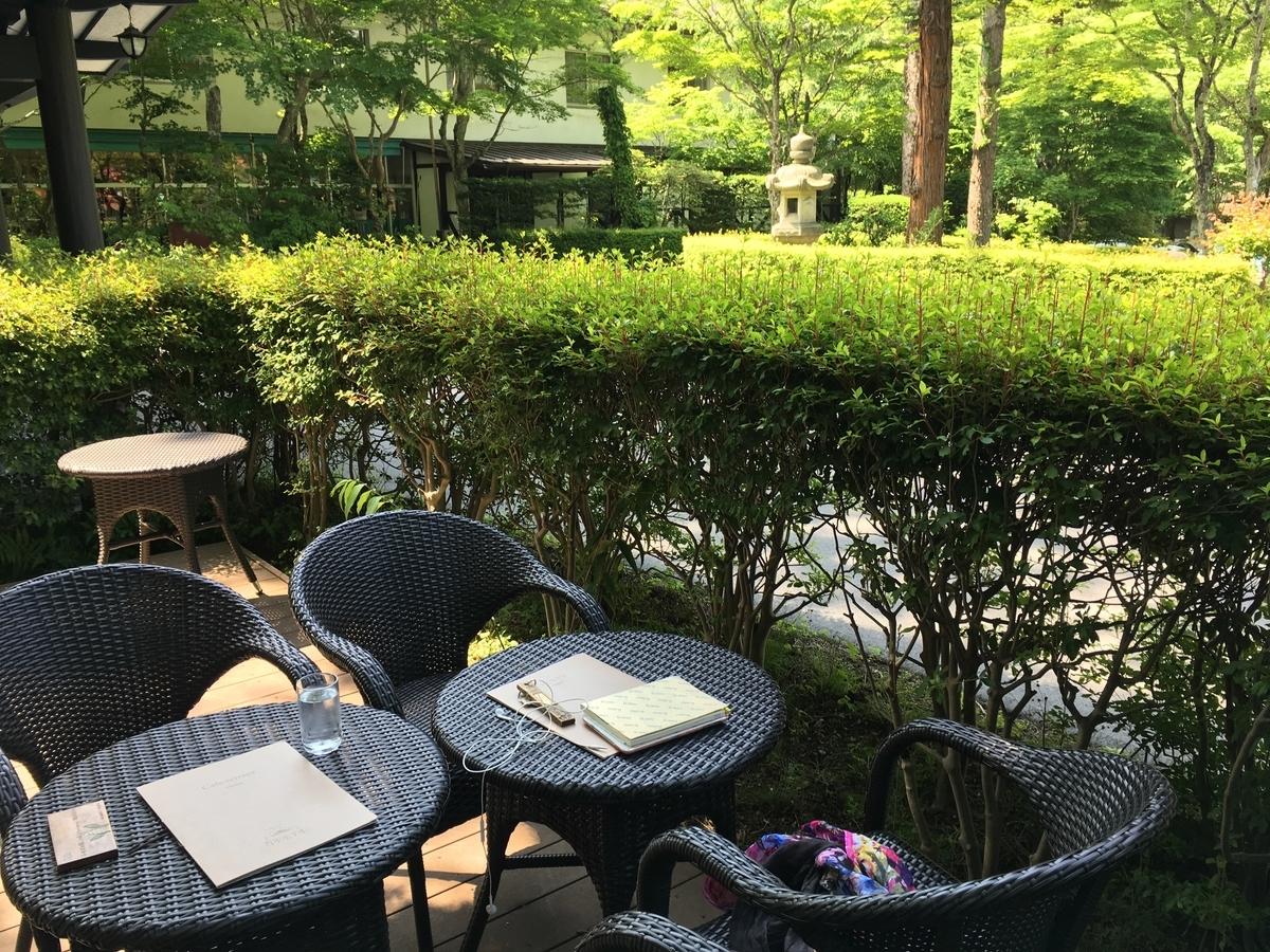 軽井沢万平ホテル カフェテラス 屋外席