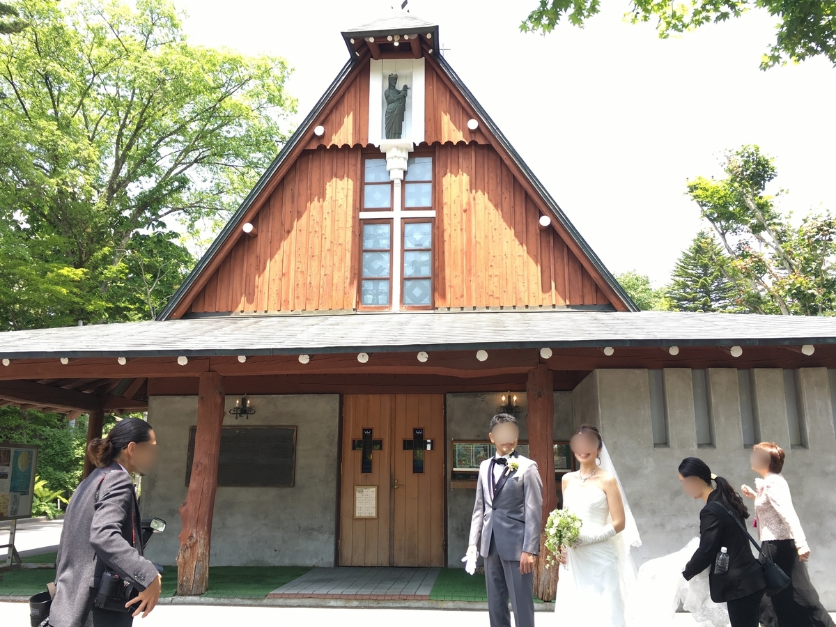 軽井沢 聖パウロカトリック教会で結婚式の花嫁さんに遭遇