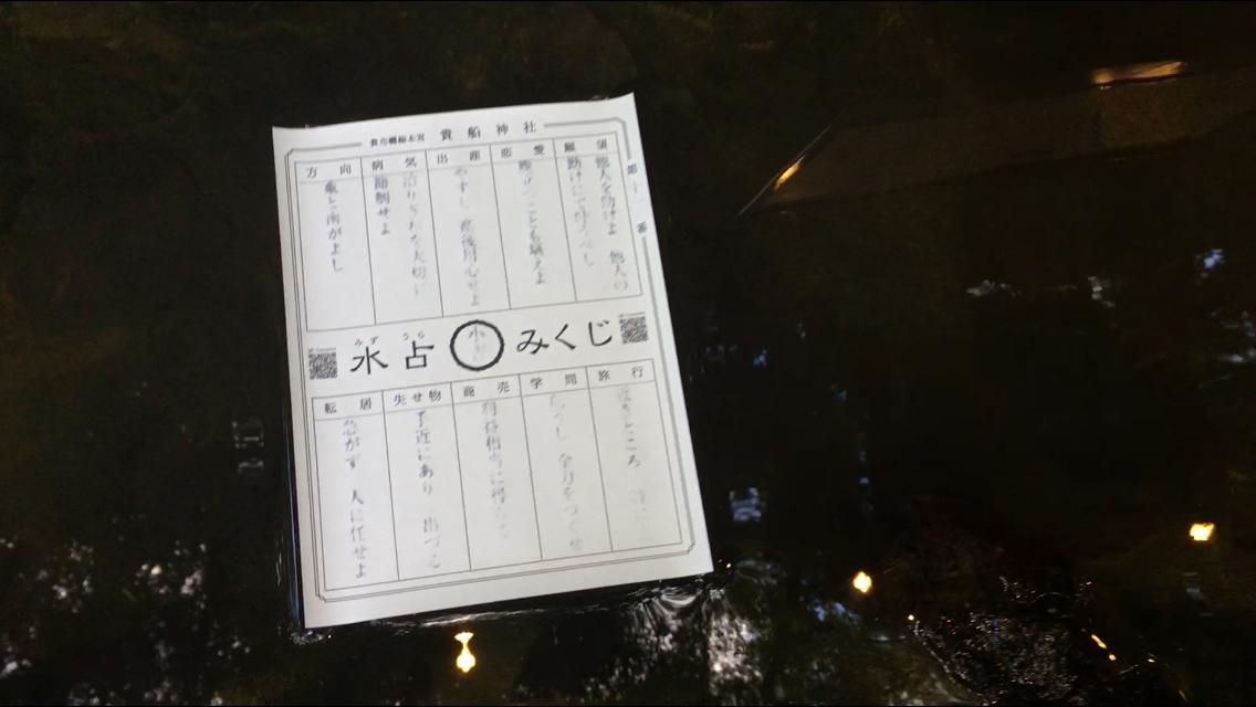 夏の貴船神社 水占いみくじ