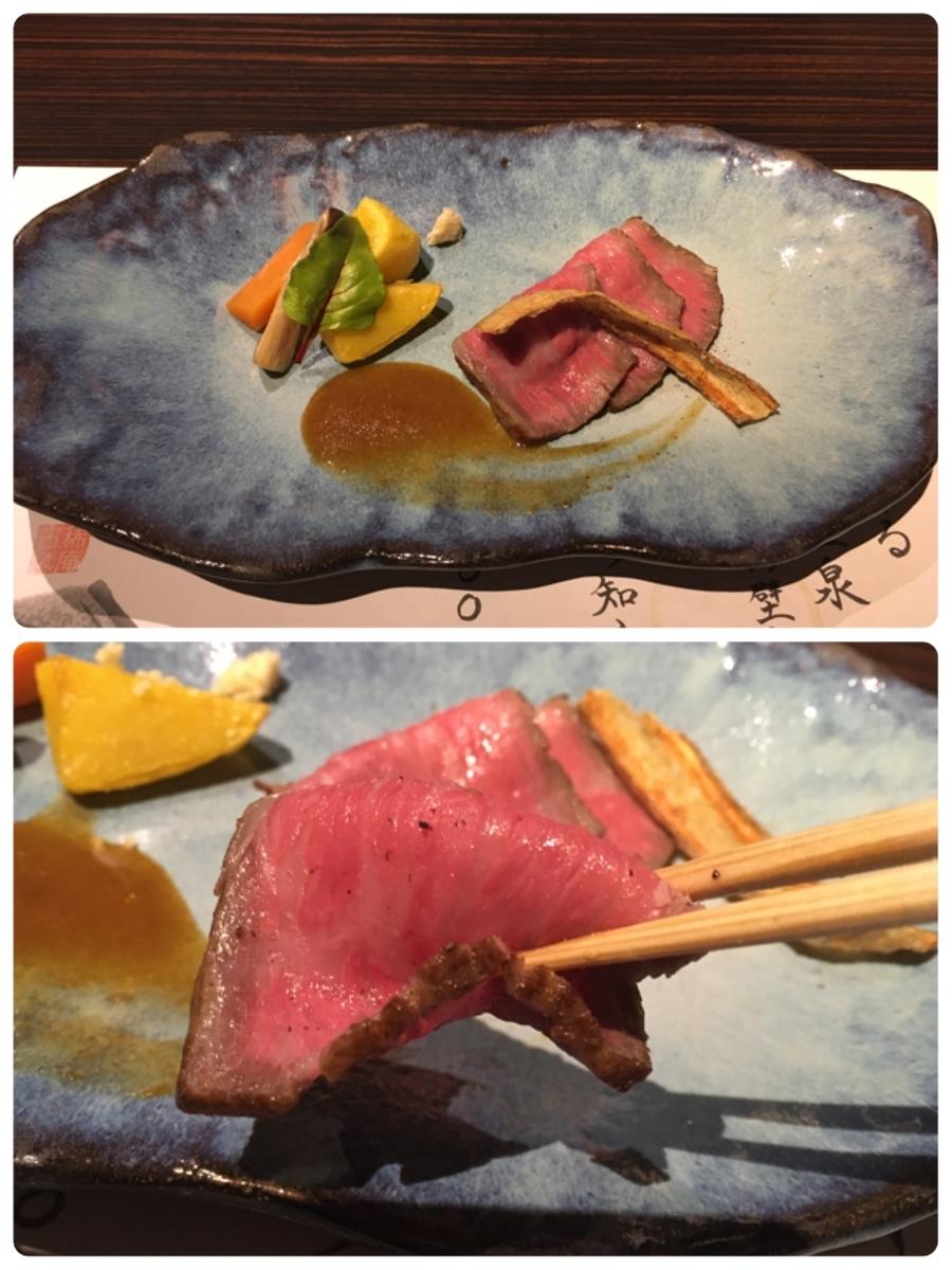 やまぐち湯田温泉古稀庵 夕食のメイン料理「料理長特製ローストビーフ」