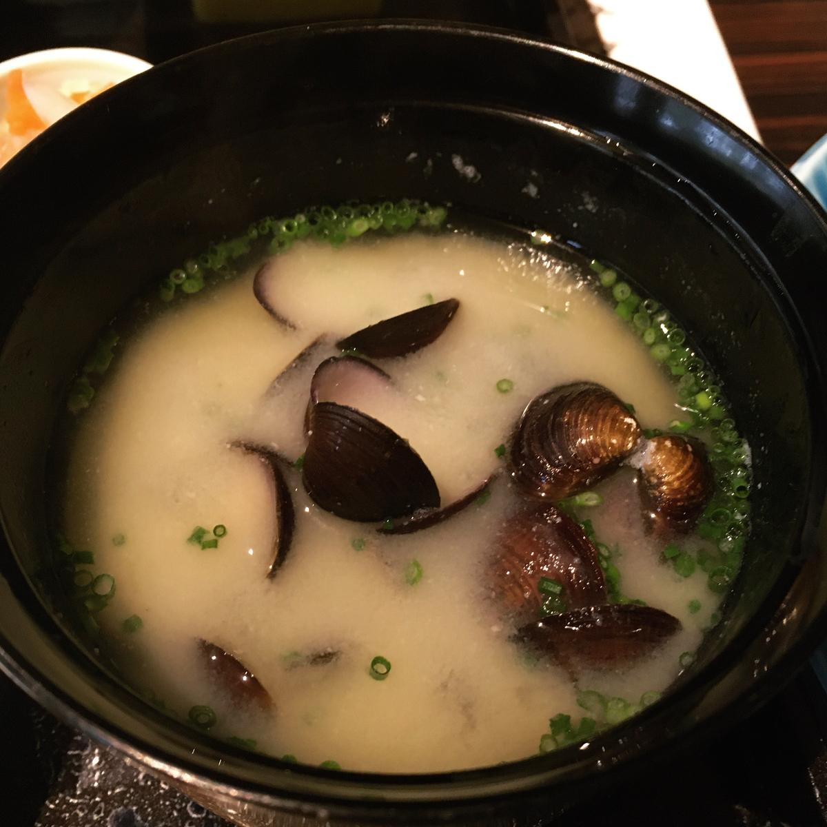 やまぐち湯田温泉古稀庵 朝食のしじみのお味噌汁