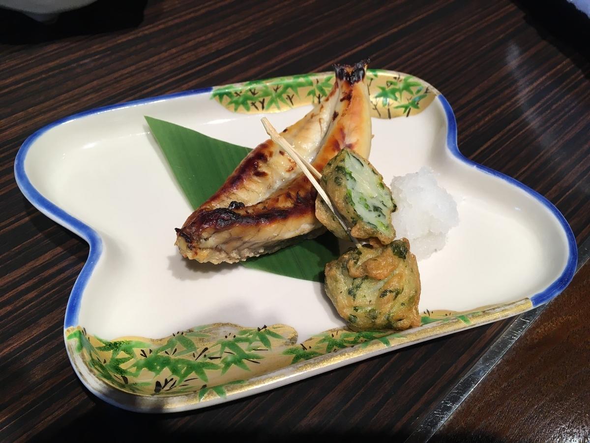 やまぐち湯田温泉古稀庵 朝食のふぐ焼き