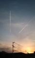 [夕焼け]飛行機雲