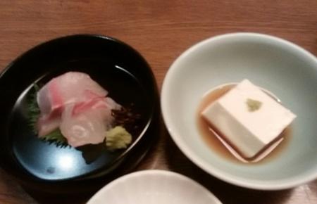 白雪豆腐と刺身2種盛り