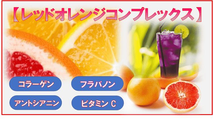 レッドオレンジ果実と成分の表示