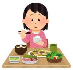 食事をしている女性