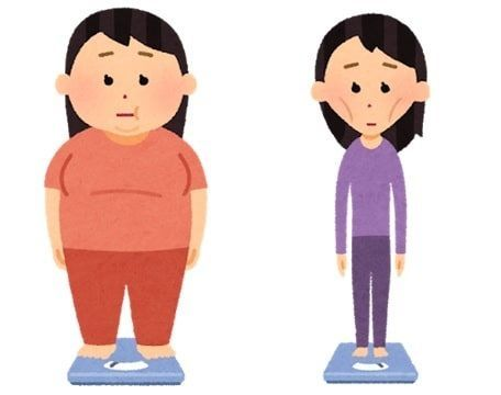 太りすぎの女性と痩せすぎの女性が並んでいるイラスト