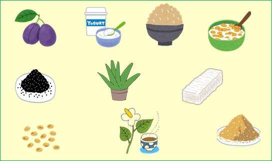便秘改善に効果的な食べ物のイラスト