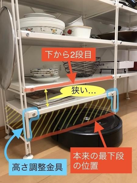 無印ユニットシェルフ高さ調整金具で最下段を高くしてルンバを通す