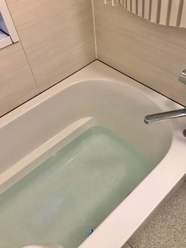 防災のため、浴槽に水を溜めておく