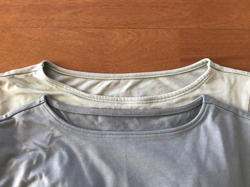 ベルメゾン くつろぎカップ付きTシャツ 2年で襟が伸びた