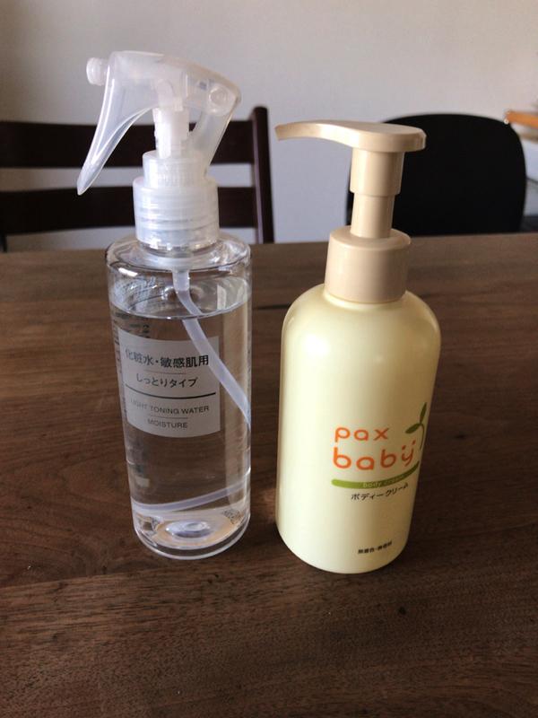 無印良品の敏感肌用化粧水とパックスベビーのボディクリーム