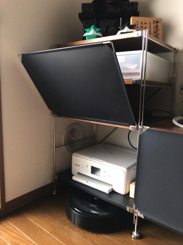 無印良品 ユニットシェルフにフロントパネルをつけてプリンターを収納