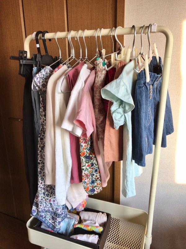 小3娘の服は「山善 トローリーハンガー」に収納