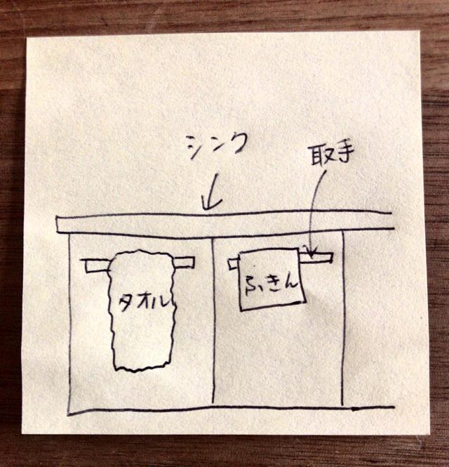 手拭きタオルと台ふきんを収納扉の取手に掛ける
