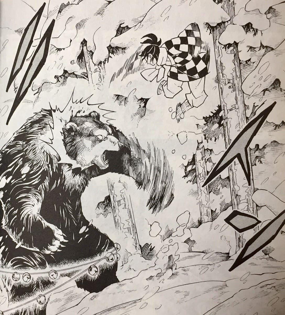 炭十郎、巨大な熊を倒す