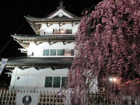 弘前さくらまつり・弘前城天守・夜のライトアップ・しだれ桜