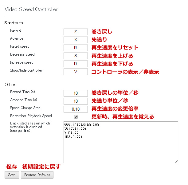 VideoSpeedControllerの設定画面