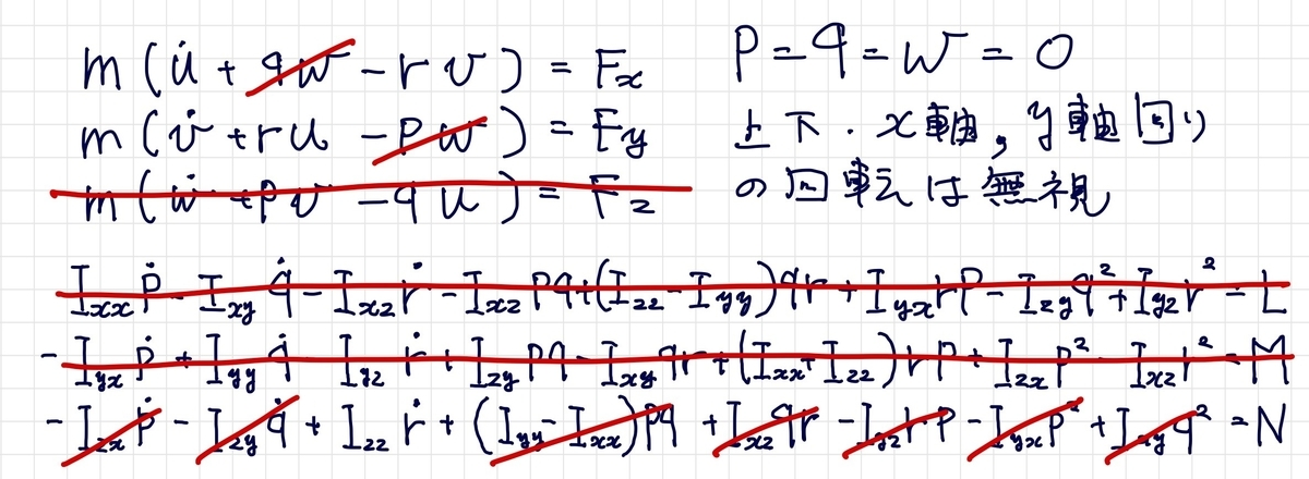 3自由度の運動方程式