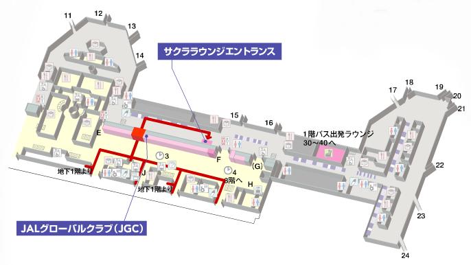 羽田空港第1ターミナル北ウィングのマップ