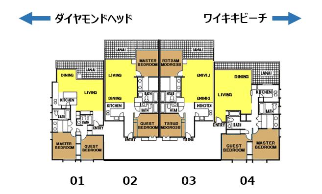 アストン・ワイキキ・ビーチタワーのユニット配置図