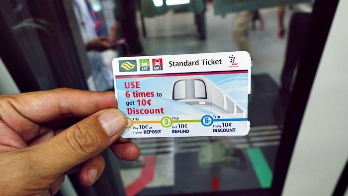 シンガポールMRTのスタンダードチケット