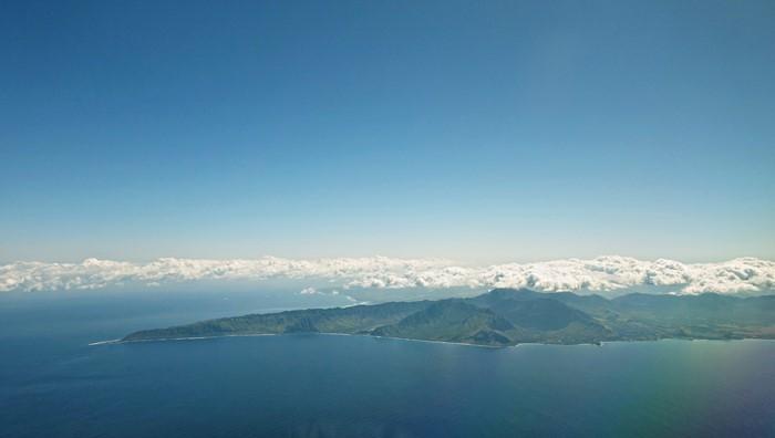 着陸前のハワイ諸島