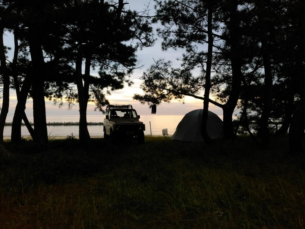 ジムニー|キャンプ|焚き火|奈多狩宿海岸|国東半島|小堺建築研究所|福岡の建築設計事務所