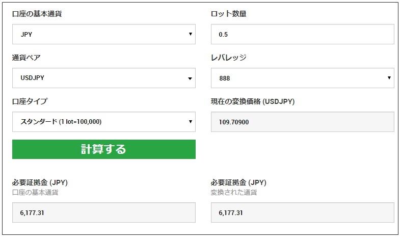 XM:FX証拠金計算ツール