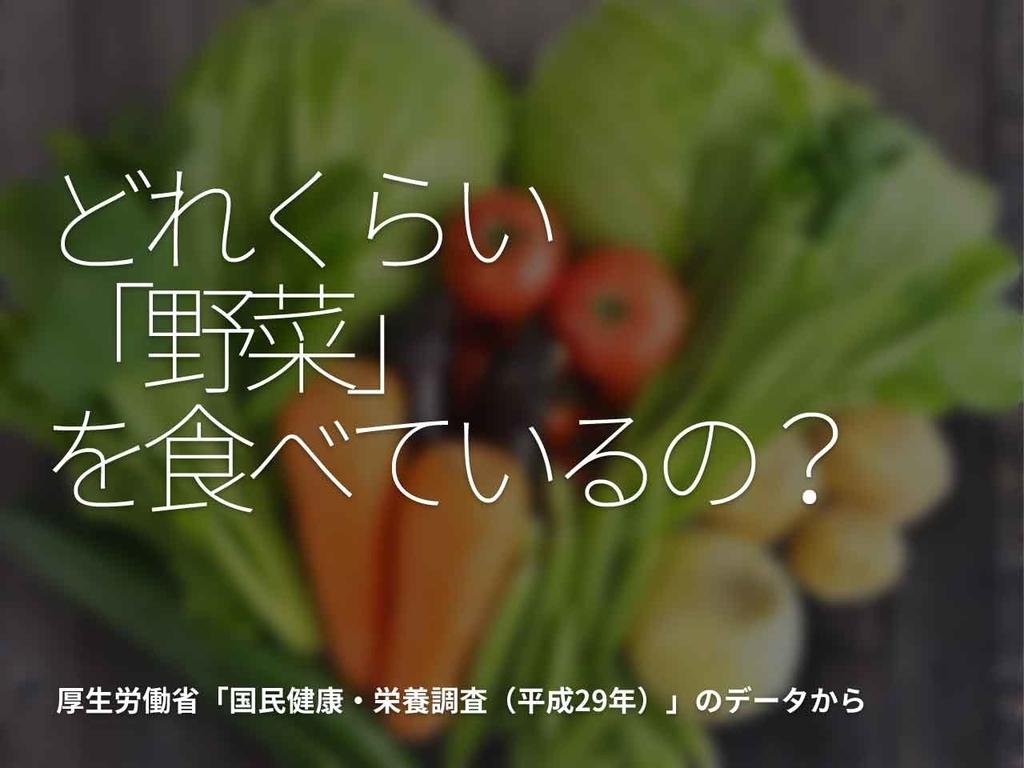「どれくらい【野菜】を食べているの?」厚生労働省[ 国民健康・栄養調査(平成29年)]のデータからその⑤【適材適食】小園亜由美(管理栄養士・野菜ソムリエ上級プロ)