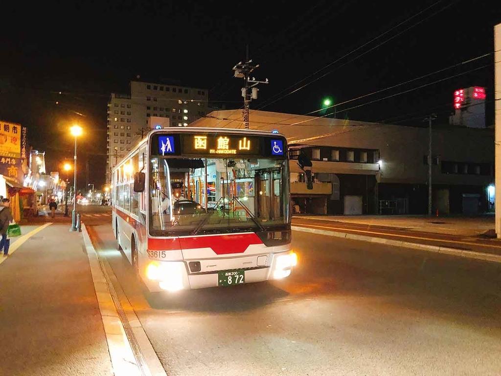 ホテルの目の前のバス停から函館山観光バスに乗車【適材適食】小園亜由美(管理栄養士・野菜ソムリエ上級プロ)