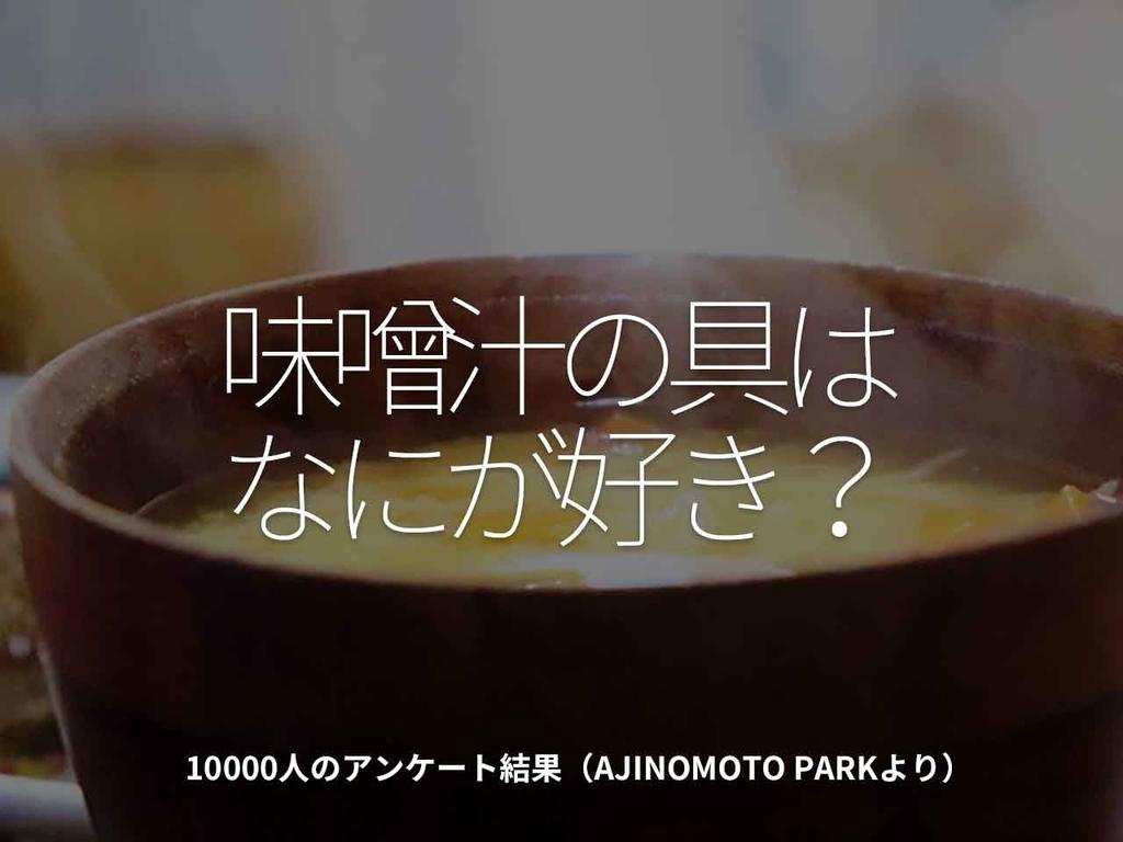 「味噌汁の具はなにが好き?」10000人のアンケート結果(AJINOMOTO PARKより)【適材適食】小園亜由美(管理栄養士・野菜ソムリエ上級プロ)