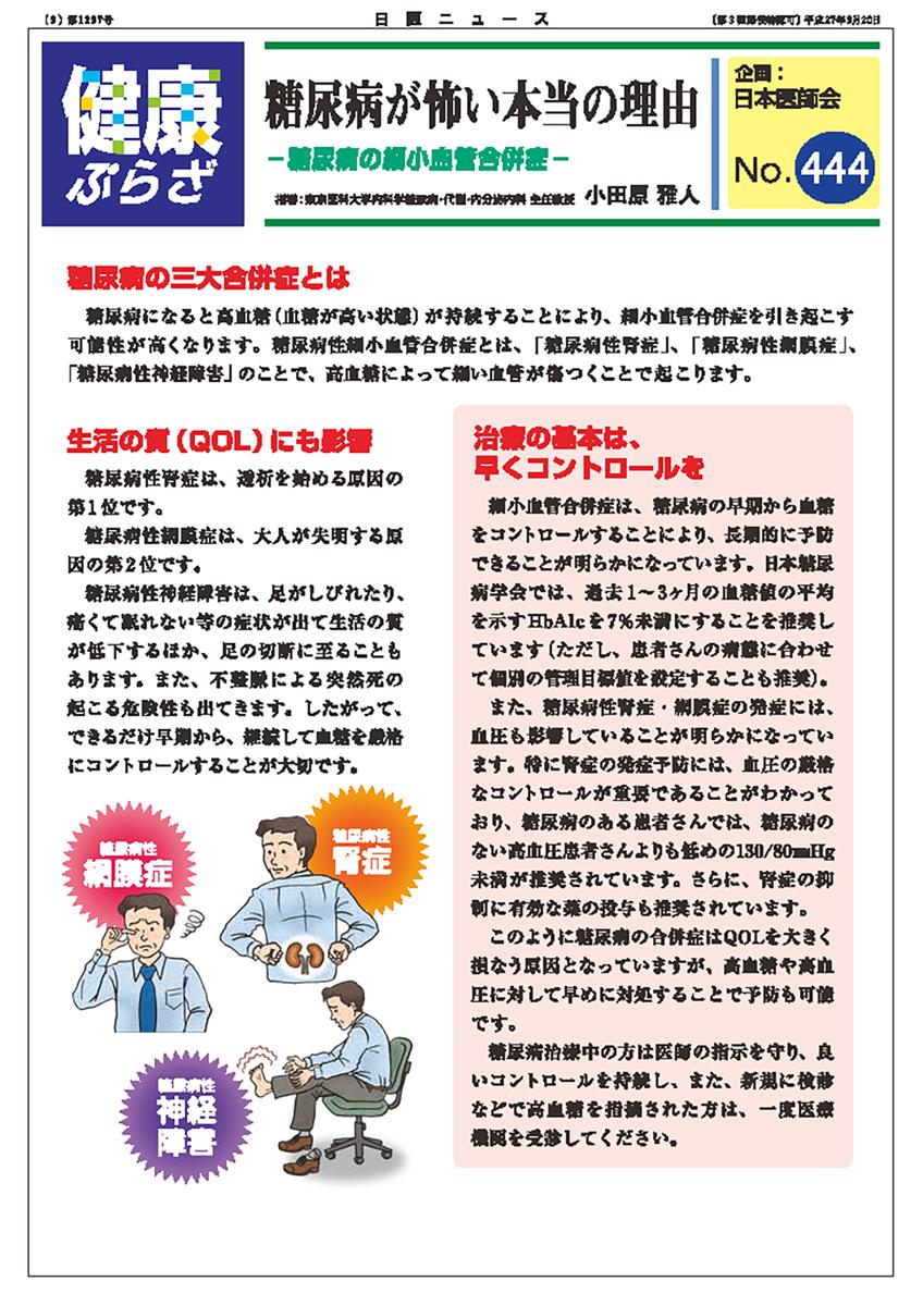 日本医師会ウェブサイト「健康ぷらざ」糖尿病が怖い本当の理由